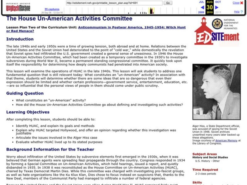Witch Hunt or Red Menace? Anticommunism in Postwar America, 1945-1954 Lesson Plan