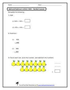 Add and Subtract within 1000 Worksheet