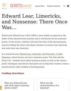 Edward Lear, Limericks, and Nonsense: There Once Was... Lesson Plan