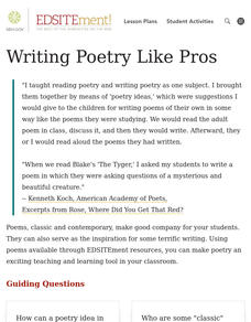 Writing Poetry Like Pros Lesson Plan