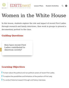 Women in the White House Lesson Plan