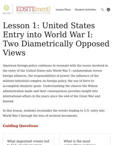 United States Entry into WWI: Two Diametrically Opposed Views Lesson Plan