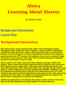 Learning About Slavery Lesson Plan