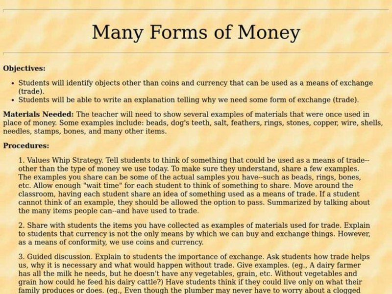 Many Forms of Money Lesson Plan