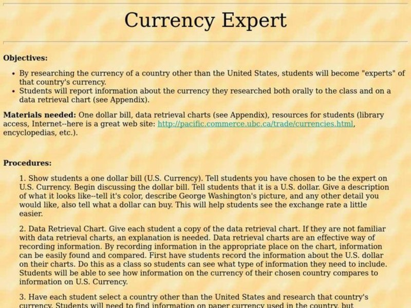 Currency Expert Lesson Plan
