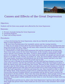 Causes and Effects of the Great Depression Lesson Plan
