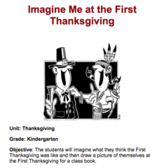 Imagine Me at the First Thanksgiving Lesson Plan