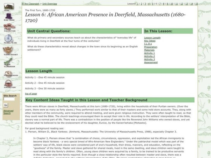 African American Presence in Deerfield, Massachusetts (1680-1720) Lesson Plan