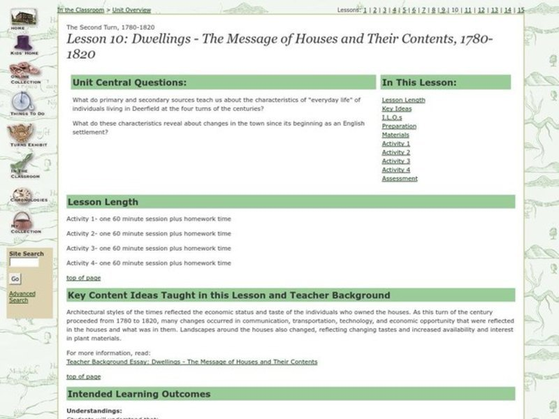 Dwellings - The Message of Houses and Their Contents, 1780-1820 Lesson Plan
