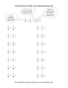 Add Fractions With Like Denominators Worksheet