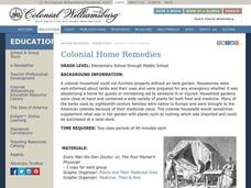 Colonial Home Remedies Lesson Plan