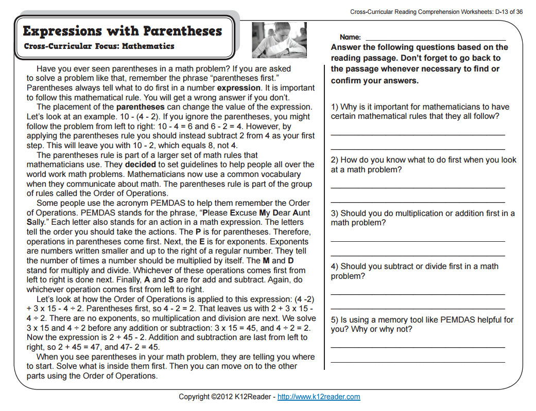 Expressions with Parentheses Worksheet