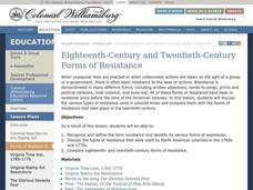 Eighteenth-Century and Twentieth-Century Forms Of Resistance Lesson Plan