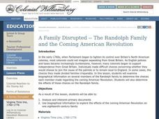 A Family Disrupted -- The Randolph Family and the Coming American Revolution Lesson Plan
