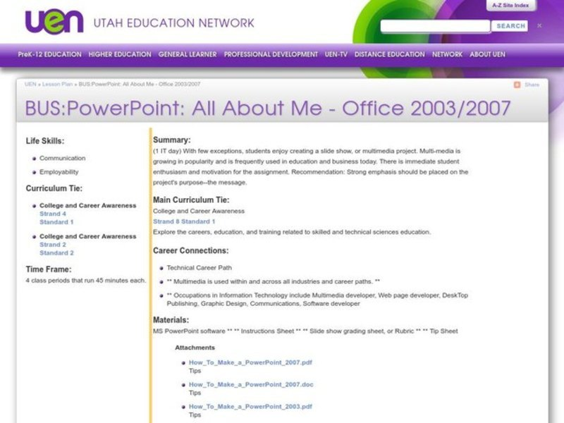 BUS:PowerPoint: All About Me - Office 2003/2007 Lesson Plan