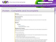 Protein - Complete and Incomplete Lesson Plan
