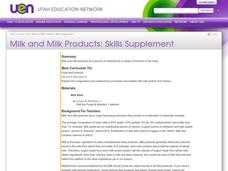 Milk and Milk Products: Skills Supplement Lesson Plan