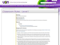 Classroom Rules - Level I Lesson Plan