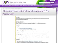 Classroom and Laboratory Management Pre Assessment Lesson Plan