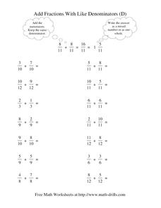 Add Fractions with Like Denominators (D) Worksheet