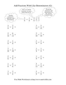 Add Fractions With Like Denominators (G) Worksheet