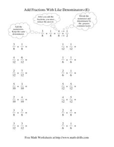 Add Fractions With Like Denominators (E) Worksheet