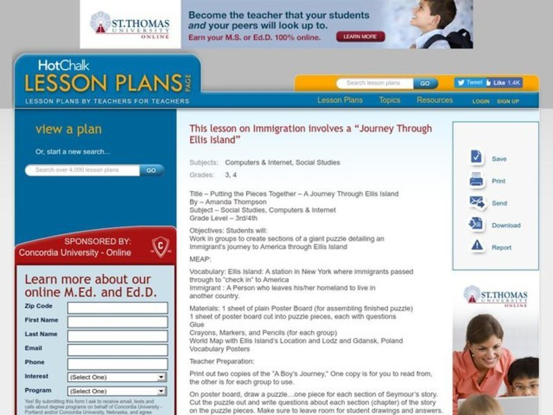 Putting the Pieces Together- A Journey Through Ellis Island Lesson Plan