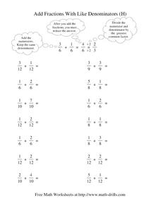 Add Fractions With Like Denominators (H) Worksheet