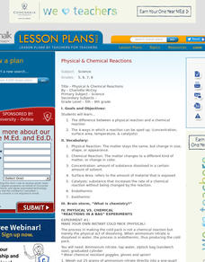 Physical & Chemical Reactions Lesson Plan