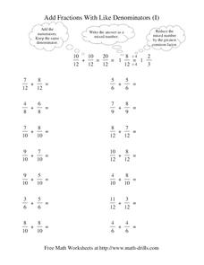 Add Fractions With Like Denominators (I) Worksheet