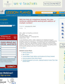 Math and Spelling Combined Lesson Plan