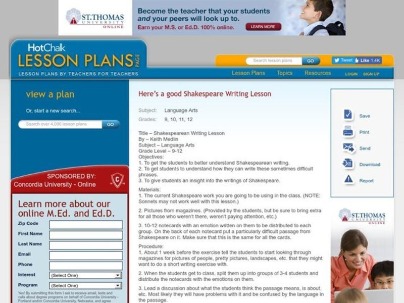 Shakespearean Writing Lesson Lesson Plan