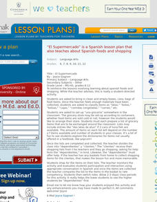 Spanish: El Supermercado Lesson Plan