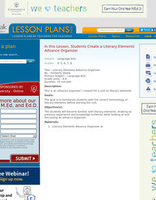 Literary Elements Advance Organizer Lesson Plan