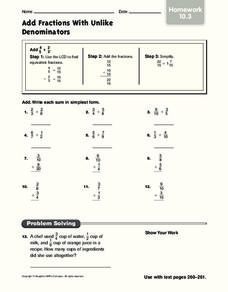 Add Fractions with Unlike Denominators Worksheet