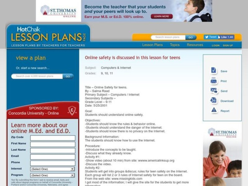 Online Safety for Teens Lesson Plan
