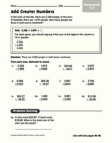 Add Greater Numbers Worksheet