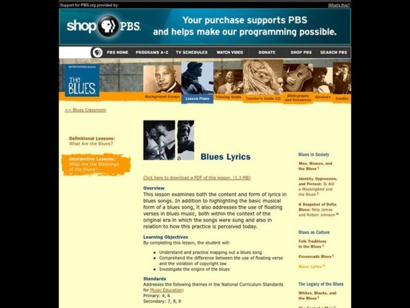 Music Education, The Blues Lesson Plan