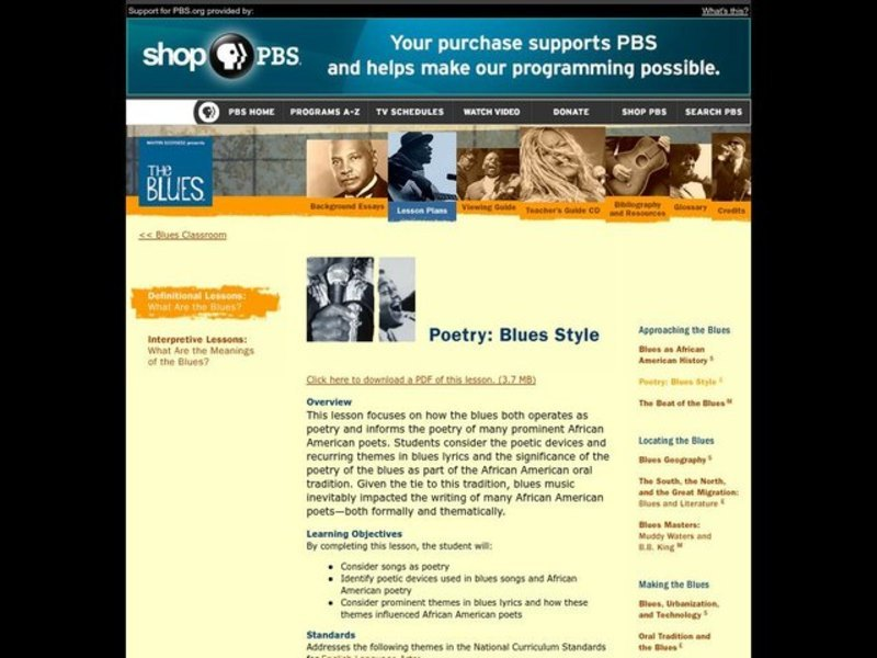 Language Arts, Music, Poetry: Blues Style Lesson Plan