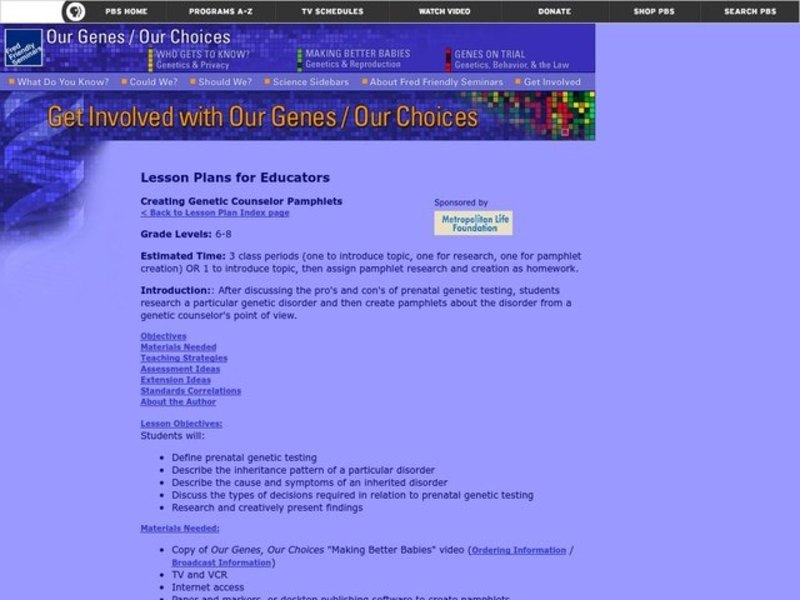 Creating Genetic Counselor Pamphlets Lesson Plan