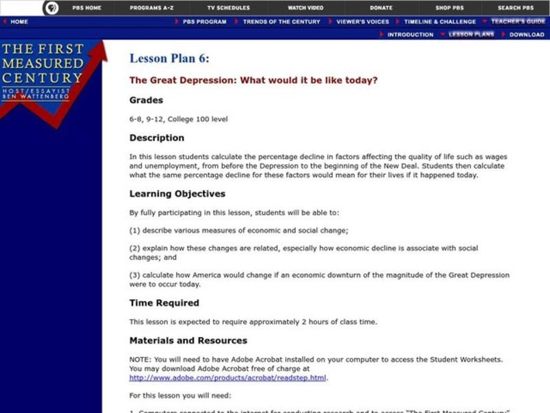 The Great Depression: What Would it be like today? Lesson ...