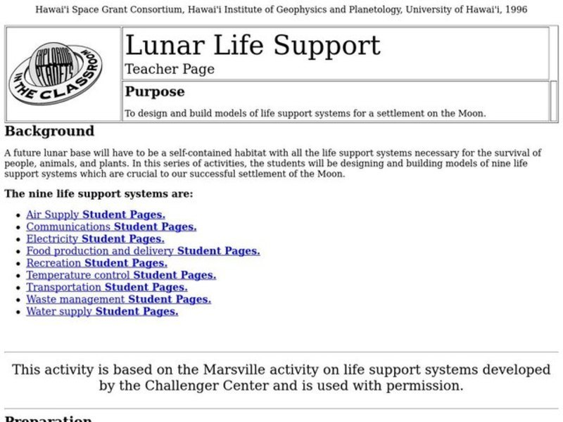 Lunar Life Support Lesson Plan