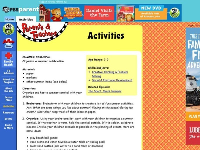 Summer Carnival Lesson Plan