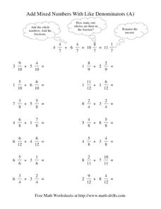 Add Mixed Numbers With Like Denominators (A) Worksheet