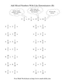 Add Mixed Numbers With Like Denominators (B) Worksheet