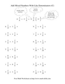 Add Mixed Numbers With Like Denominators (C) Worksheet
