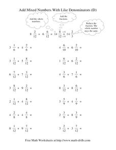 Add Mixed Numbers With Like Denominators (D) Worksheet