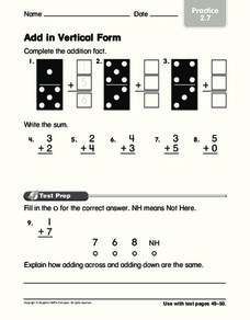 Add in Vertical Form Worksheet