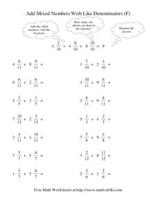Add Mixed Numbers With Like Denominators (F) Worksheet