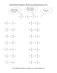 Add Mixed Numbers with Like Denominators (G) Worksheet